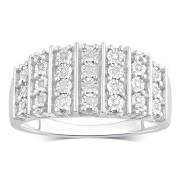 Divina Sterling Silver 1/10ct TDW Diamond Anniversary Ring