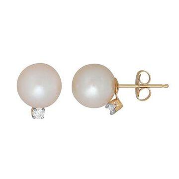 Sofia Sofia 1/10 CT. T.W. Genuine White Cultured Freshwater Pearl 14K Gold 10.2mm Stud Earrings Family