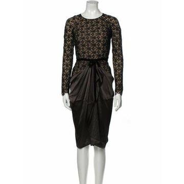 Lace Pattern Midi Length Dress Black