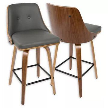 LumiSource Gianna Faux Leather Upholstered Bar Stools in Brown/Grey (Set of 2)