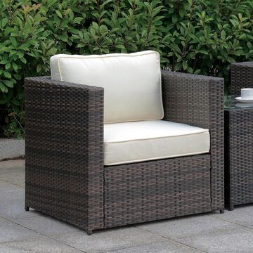Furniture of America Fene Contemporary Brown Outdoor Armchair