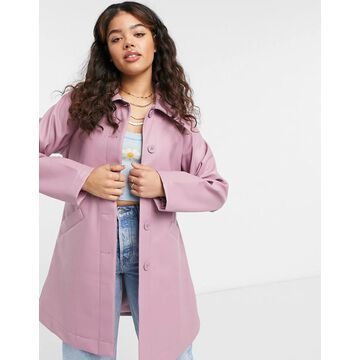 Monki Rori patent jacket with belt in pink