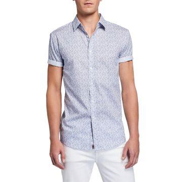 Men's Printed Short-Sleeve Cotton Sport Shirt