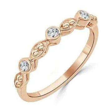 Auriya Petite Beaded Stackable Diamond Wedding Band 0.08ctw 10K Gold