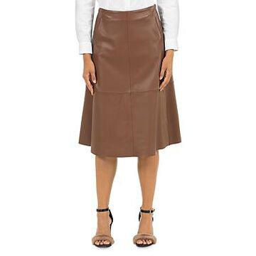 Peserico Leather Midi Skirt
