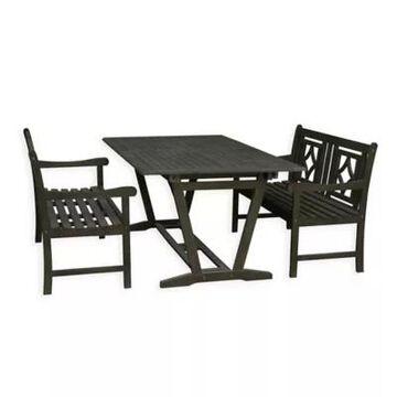 Vifah Renaissance 3-Piece Outdoor Extendable Dining Set in Vista Grey