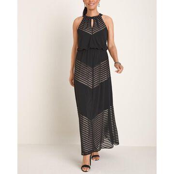 Chevron-Print Halter Maxi Dress