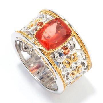 Michael Valitutti Palladium Silver Red Fluorite & Orange Sapphire Band Ring