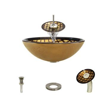 MR Direct Gold, Brown Tempered Glass Vessel Round Bathroom Sink with Faucet (Drain Included)