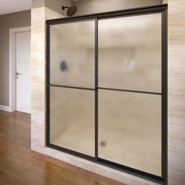 Basco Deluxe 54-in to 56-in W Framed Bypass/Sliding Oil Rubbed Bronze Shower Door