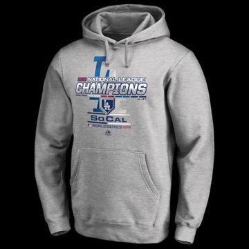 Majestic MLB League Champ Pullover Hoodie - Los Angeles Dodgers - Athletic Heather Grey, Size One Size