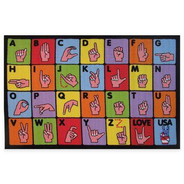 """Fun Rugs Sign Language 3' 3"""" X 4' 10"""" Area Rug Multi"""