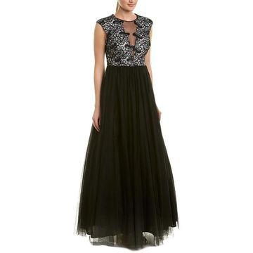 Aidan Mattox Silk-Trim Gown