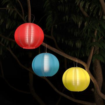 Chinese Lanterns Solar Powered LED Bulbs Pure Garden Set of 3