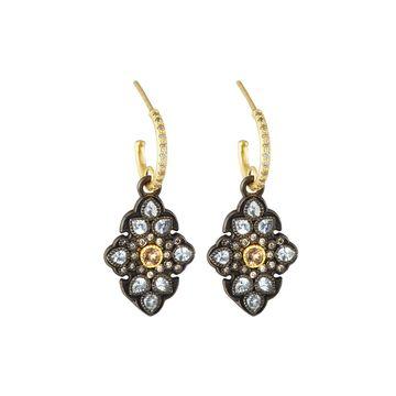 Old World Sapphire & Garnet Scroll Drop Earrings w/ Diamonds