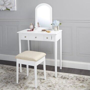 Mainstays Mirror Vanity with Bench - Powered Outlet and 2-USB Ports, White