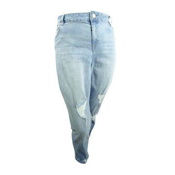 Celebrity Pink Women's Plus Size Ripped Girlfriend Jeans