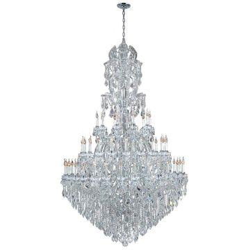 Worldwide Lighting Maria Theresa 60-Light Chrome Glam Crystal Tiered Chandelier