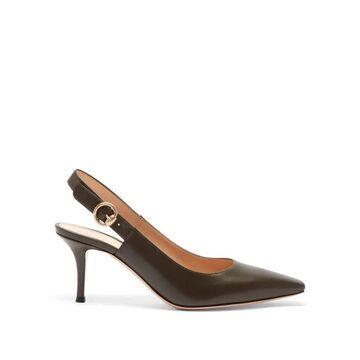 Gianvito Rossi - Square-toe Leather Slingback Pumps - Womens - Khaki