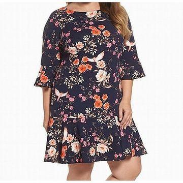 Eliza J Womens Plus Floral Bell-Cuff Sheath Dress