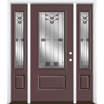 Masonite Frontier 64-in x 80-in Fiberglass 3/4 Lite Left-Hand Inswing Currant Painted Prehung Single Front Door with Sidelights with Brickmould in Red