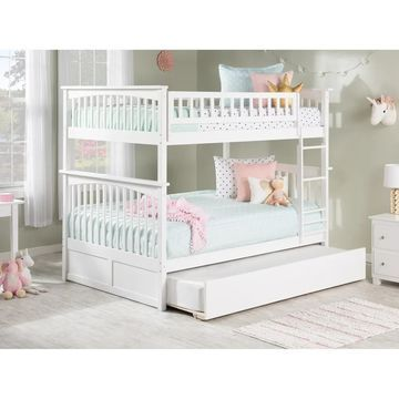 Columbia Bunk Bed Full over Full with Twin Size Urban Trundle Bed in White