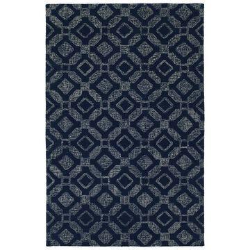 Kaleen Stesso 5 x 8 Wool Navy Indoor Geometric Mid-century Modern Area Rug Cotton in Blue   SSO06-22-579