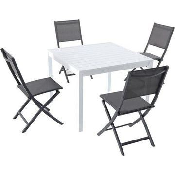 Hanover Del Mar 5-Piece Outdoor Dining Set with 4 Sling Folding Chairs and a 38