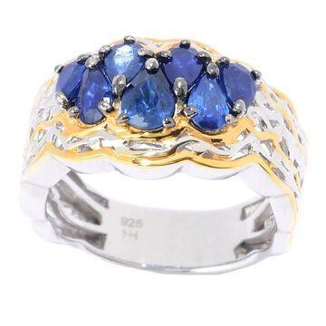 Michael Valitutti Palladium Silver Royal Blue Sapphire Cluster Ring