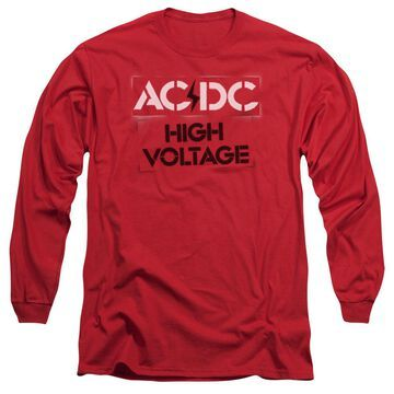 ACDC108-AL-5 ACDC High Voltage Stencil-Long Sleeve Adult T-Shirt, Red - 2X