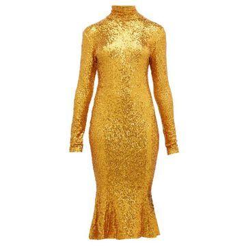 Norma Kamali - High-neck Sequinned Fishtail-hem Dress - Womens - Gold