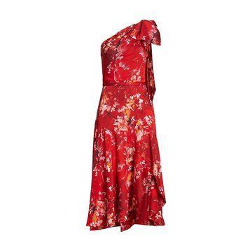 THEIA Sarah Satin One-Shoulder Dress