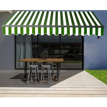 ALEKO Black Frame 10'x8' Motorized Retractable Home Patio Canopy Awning Green/White (Green/White)