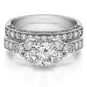 TwoBirch Bridal Set (Two Rings) in 10k Gold and Diamonds (G,I2) (2.04 tw) - Clear
