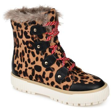 Brinley Co. Womens Comfort Foam Faux Fur Trim Lace-Up Winter Boot