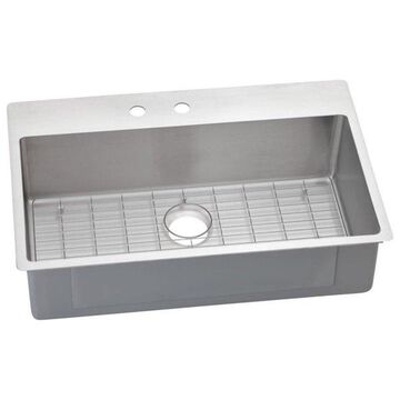 Elkay Crosstown Stainless Steel Dual-Mount Sink Kit, Polished Satin
