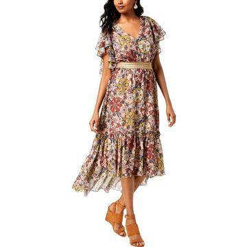 Taylor Womens Midi Dress Metallic Floral