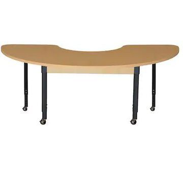 Wood Designs Mobile 24 x 76 Half Circle High Pressure Laminate Table with Adjustable Legs 20-31 (HPL | Quill