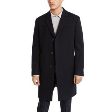 Kenneth Cole Reaction Men's Raburn Slim-Fit Navy Blue Textured Overcoat