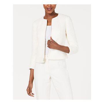 ANNE KLEIN Womens Ivory Zip Neck Zip Up Wear To Work Jacket Size: 6