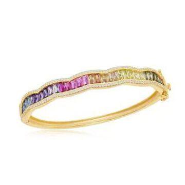 La Preciosa Sterling Silver 14K Gold Overlay Baguette Rainbow CZ Bangle (Yellow - 7.5 Inch - Multi)