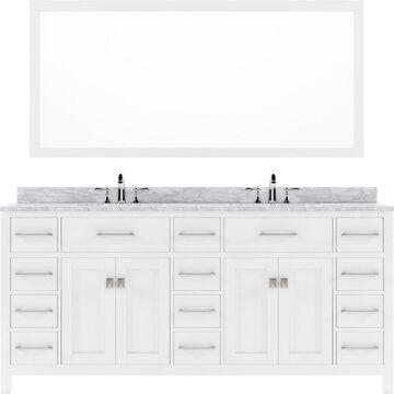 Virtu USA Caroline Parkway 72-in White Undermount Double Sink Bathroom Vanity with Italian Carrara White Marble Top (Mirror Included)