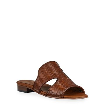 Geomar Woven Leather Slide Sandals