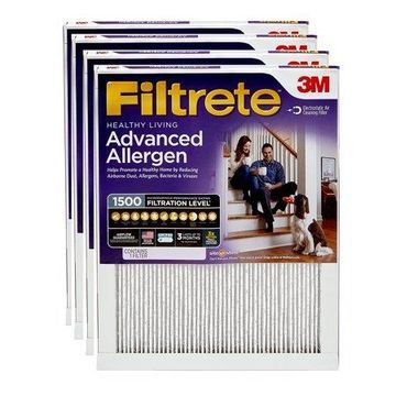 Filtrete 20x20x1, Healthy Living Advanced Allergen Reduction HVAC Furnace Air Filter, 1500 MPR, Pack of 4 Filters