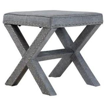 Furniture of America Kyon Transitional Linen X-shaped Ottoman