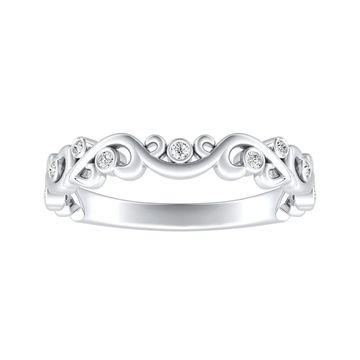 Auriya Platinum 1/10ctw Vintage Scroll Diamond Wedding Band