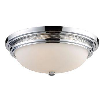Westmore Lighting Achouffe 16-in Polished Chrome Flush Mount Light