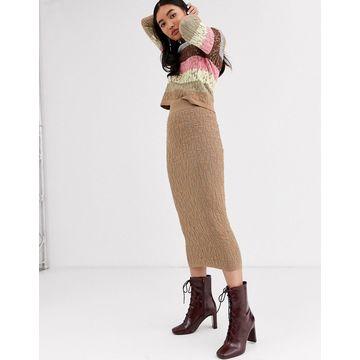 ASOS WHITE textured knit skirt-Brown