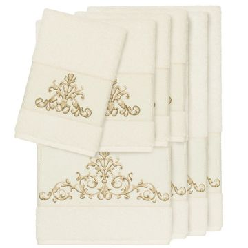 Authentic Hotel and Spa Cream Turkish Cotton Scrollwork Embroidered 8 piece Towel Set