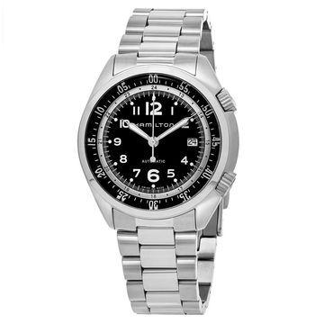 Hamilton Men's H76455133 'Khaki Aviation' Black Dial Stainless Steel Pioneer Swiss Automatic Watch (Men's)